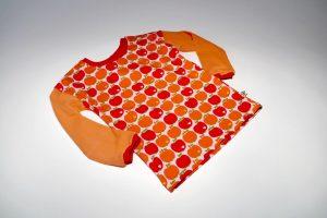 Oberteil langarm Stoff Oberteil: Jersey Äpfel rot Stoff Ärmel: Jersey uni orange Bündchen: rot Verfügbar in allen Größen
