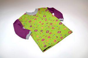 Oberteil langarm Stoff Oberteil: Jersey Seetiere grün Stoff Ärmel: Jersey uni lila Bündchen: grau gestreift Verfügbar in allen Größen