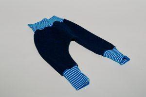 Pumphose Stoff Pumphose: Jeans blau Bündchen: Türkis/weiß gestreift Verfügbar in allen Größen