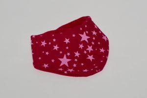 Halstuch Stoff Vorderseite: Sweat Sterne pink Stoff Rückseite: Nicki pink Klettverschluss