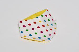Halstuch Stoff Vorderseite: Jersey Punkte klein Stoff Rückseite: Jersey uni gelb Klettverschluss