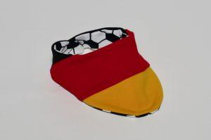 Halstuch Stoff Vorderseite: Jersey schwarz/rot/gelb Stoff Rückseite: Jersey Fussball weiß/schwarz Klettverschluss