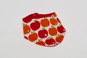 Halstuch Stoff Vorderseite: Jersey Äpfel rot Stoff Rückseite: Jersey uni rot Klettverschluss