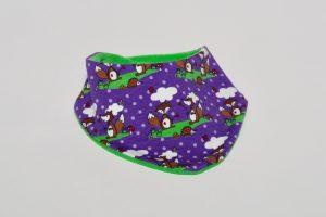 Halstuch Stoff Vorderseite: Jersey Fuchs lila Stoff Rückseite: Nicki grün Klettverschluss