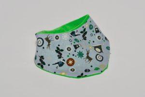 Halstuch Stoff Vorderseite: Baumwolle Weihnachten Stoff Rückseite: Nicki grün Klettverschluss
