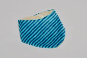 Halstuch Stoff Vorderseite: Nicki Streifen türkis Stoff Rückseite: Nicki creme Klettverschluss