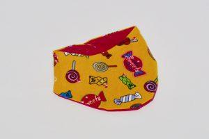 Halstuch Stoff Vorderseite: Jersey Lollis gelb Stoff Rückseite: Jersey uni pink Klettverschluss