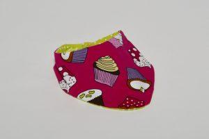 Halstuch Stoff Vorderseite: Jersey Muffins Stoff Rückseite: Jersey Punkte grün Klettverschluss