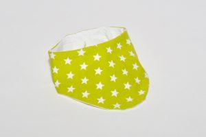 Halstuch Stoff Vorderseite: Jersey Sterne grün Stoff Rückseite: Jersey uni weiß Klettverschluss