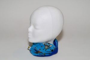 Loop Stoff Vorderseite: Jersey Affen blau Stoff Rückseite: Jersey uni blau