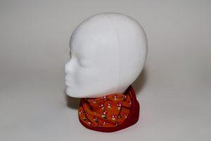 Loop Stoff Vorderseite: Jersey Pilze orange Stoff Rückseite: Jersey uni rot